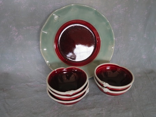 "Small Red Bowls (4.5"") $ 45 Plate (11')"